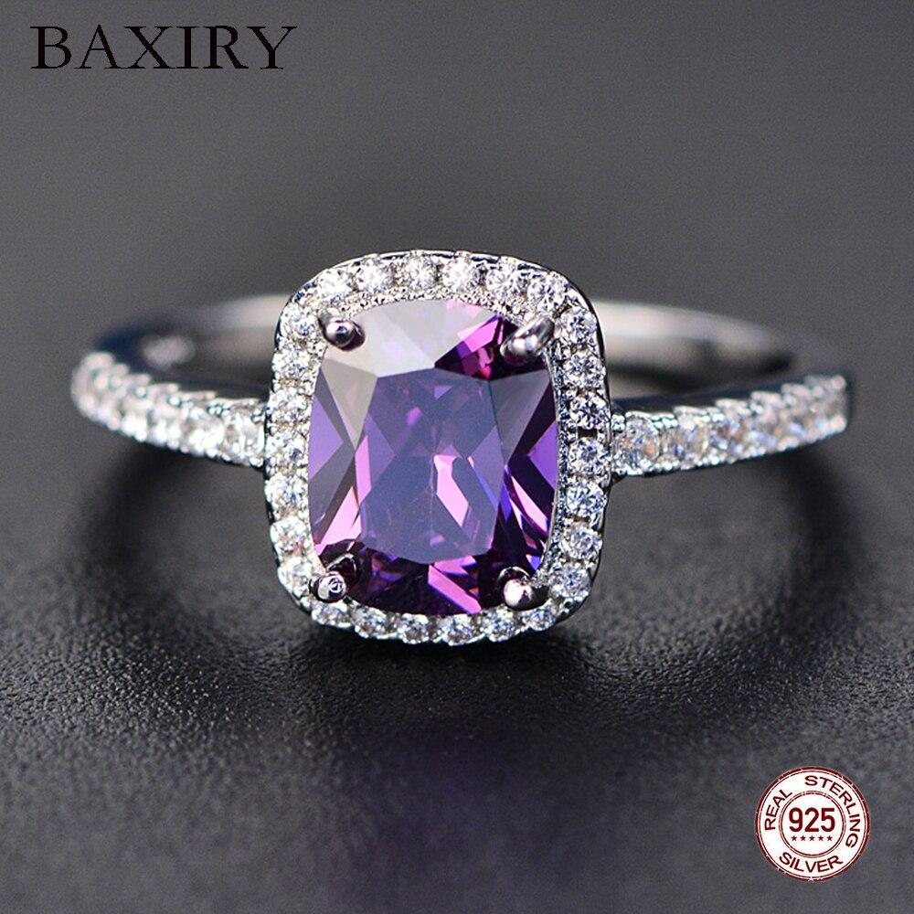 Eternity Diamond Rings For Women 100% 925 Sterling Silver White Gold Gemstone Amethyst Ring Natural Moissanite Ring