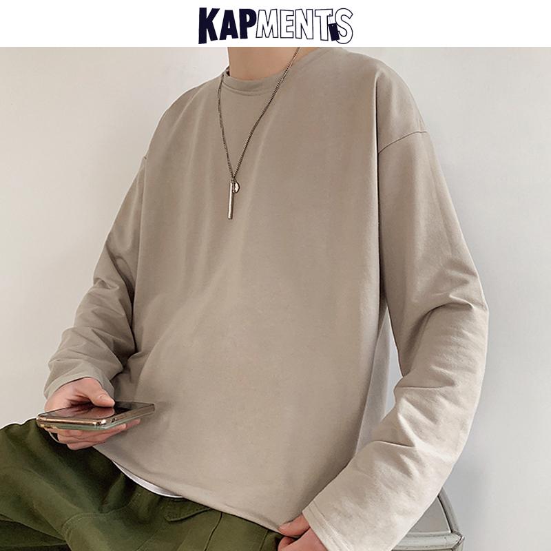 KAPMENTS Oversized Solid 12 Colors Pullover Hoodies For Men 2020 Mens Streetwear Harajuku Sweatshirts Long Sleeve Korean Clothes