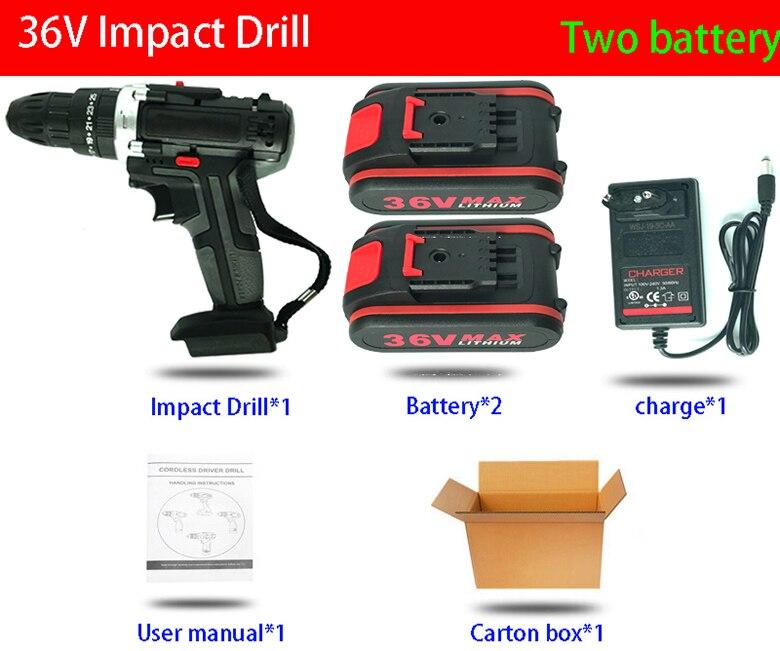 36 вольт макс. 6500 мАч Ударная дрель, электрическая шуруповерт, Аккумуляторная дрель, мини беспроводной драйвер питания, литий-ионный аккумулятор постоянного тока, 2 скорости - Цвет: Красный