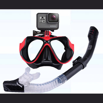 Snorkeling Mask Snorkel Tube Set Diving Mask Anti-Fog Swimming Diving Goggles Snorkel Tube For GoPro Underwater Sports Camera 12