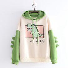 Moletom feminino camisola estilo japonês kawaii dinossauro dos desenhos animados com capuz outono primavera pullovers para meninas sudadera mujer 2021
