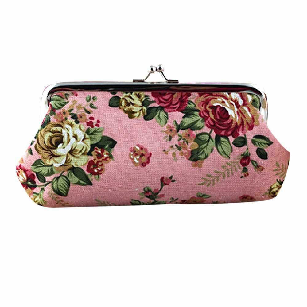 Wanita Vintage Bunga Kecil Dompet Wanita Retro Pengait Cion Dompet Panjang Tas Genggam Tas Wanita Shopping Telepon Arus Tas Pemegang Kartu
