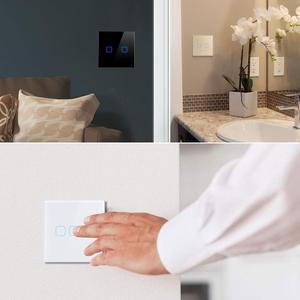 Image 5 - Interruptor táctil 3,2,1 Gang 1 Way, interruptor de pantalla táctil de luz de pared, Panel de interruptor de cristal apto para bombilla LED para lámpara 220V 230V EU UK