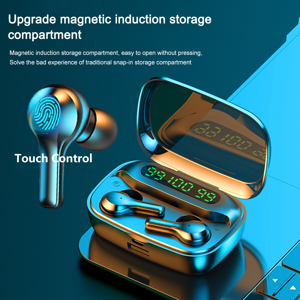 Bluetooth Earphones Wireless Headphones LED Display TWS Headphone with Portable Power Bank Waterproof Gaming Headset Earbuds