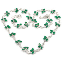 18x12mm Elegant Real Green Emerald White CZ Ladies Silver Necklace 19.5 20.5in