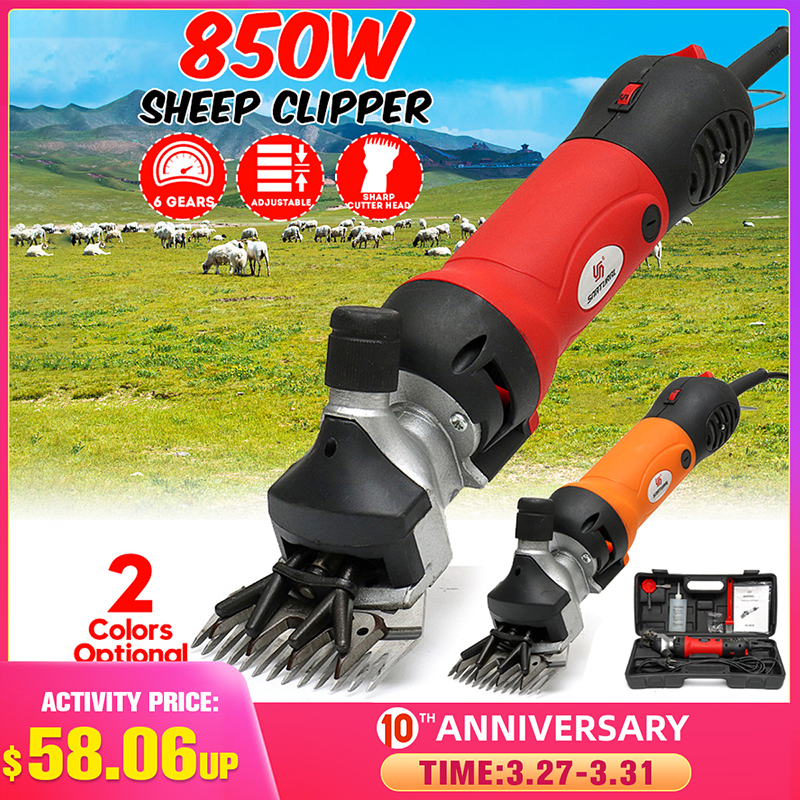 850W 220V 6 Gears Speed Electric Sheep Goat Shearing Machine Clipper Farm Shears Cutter Wool scissor Cut Machine With Box|Scissors| |  - title=