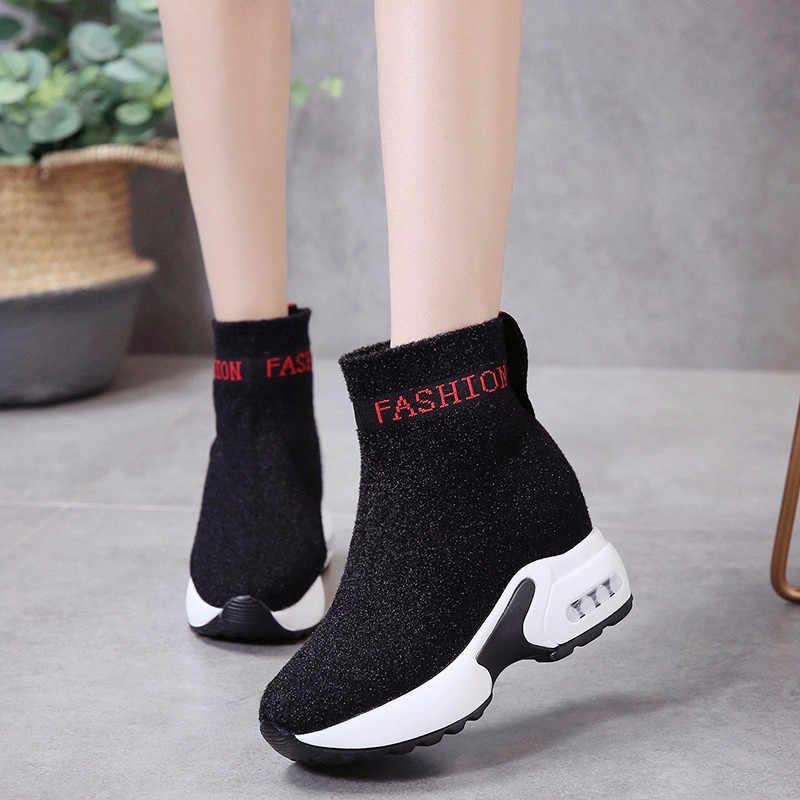 COOTELILI botas de mujer botas de plataforma de moda botas de tacón Zapatos casuales de mujer botas de tobillo zapatillas de deporte 35-40