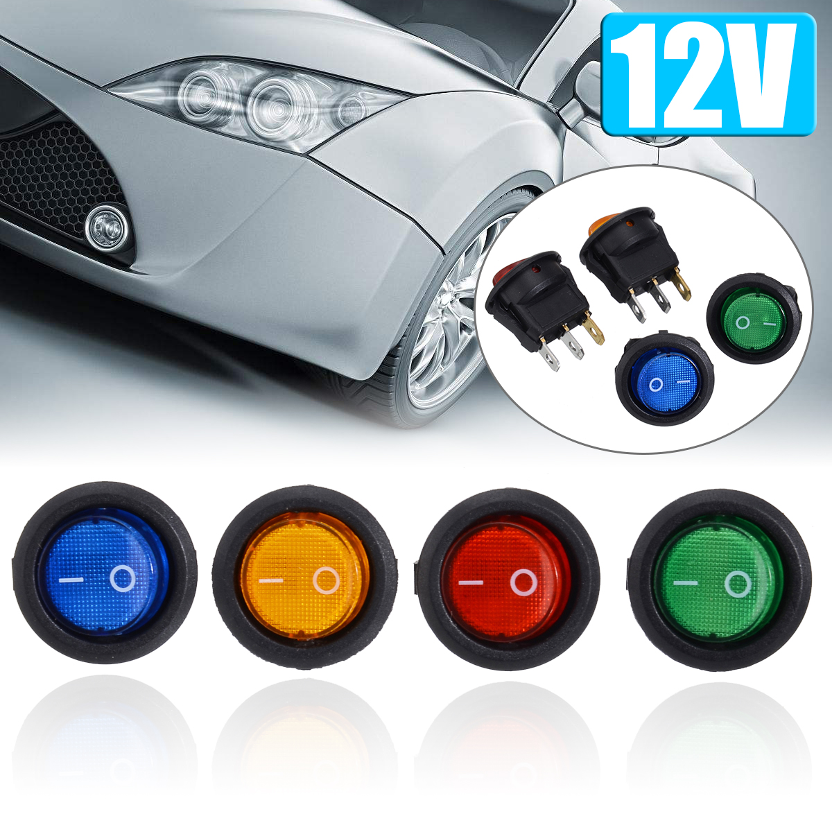 4Pcs/Set 12V 16A LED Auto Rocker Dot Boat LED Light Toggle Switch Red/Blue/Green/Yellow SPST ON/OFF Top Sales Electric Controls-in Car Switches & Relays from Automobiles & Motorcycles