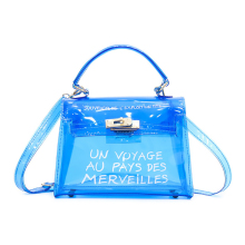 Women Transparent Bag Clear PVC Shoulder Bag Candy Transparent Jelly Handbag Satchel Design Tote Bag Printed Letter Sac a Main trendy zippers and candy color design women s tote bag