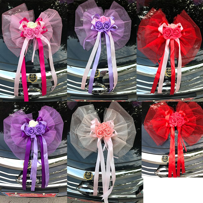 Wedding Car Accessory Flowers Rear Mirror Door Handle Decoration Front Decoration Roof Tail Simulation Flowe Wedding Decor