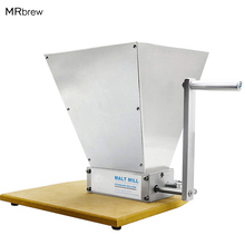 Stainless Steel 2 Roller Malt Mill Crusher Home Brewing Grain Crusher Manual Adjustable Barley Grinder With Wooden Base