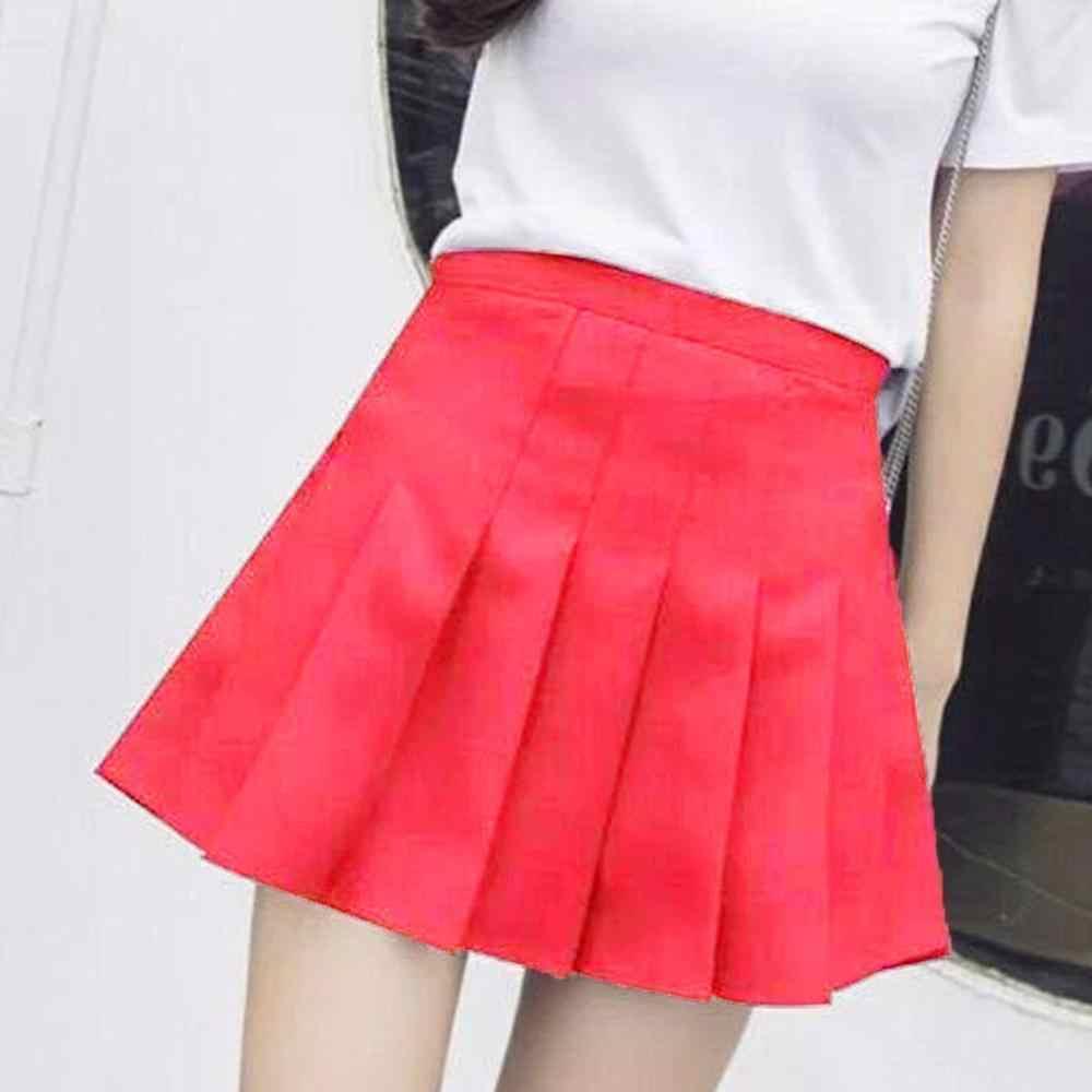 Nowa wiosna wysokiej talii piłka plisowana spódnica Harajuku spódniczki dżinsowe solidna trapezowa spódnica marynarska Plus rozmiar japoński mundurek szkolny