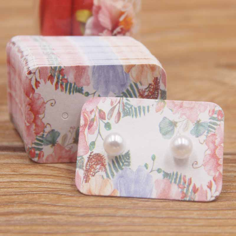 50pcs Multi Flower Pattern Small Earring Paper Package Card DIY Handmad Elegant Stud Earring Card White Kraft Paper Jewelry Card