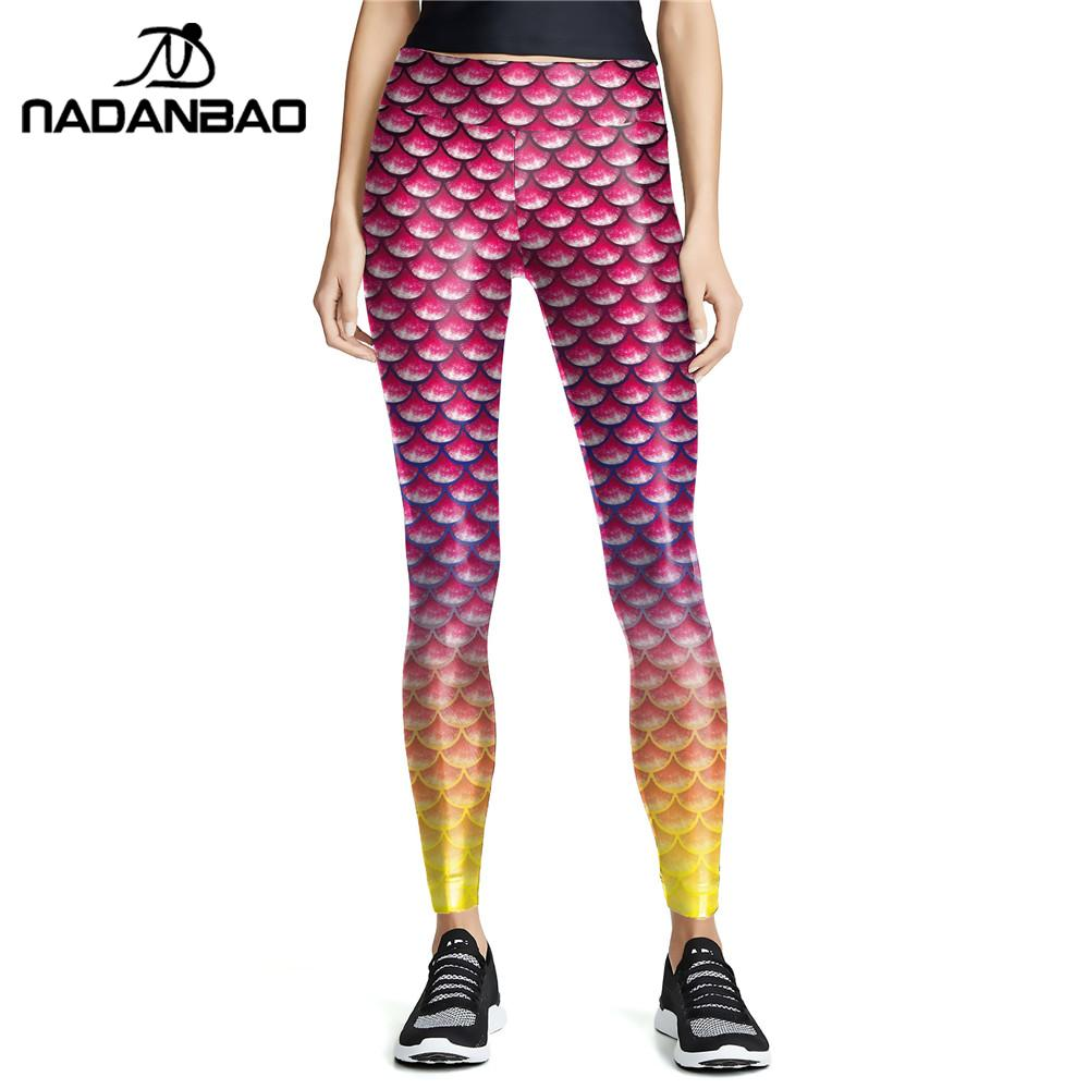 NADANBAO Pink Gradient Women Workout Leggings Mermaid Fish Scale Pants Slim High Waist Elasticity Leggins Knitted Legins XL Size