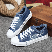 Breathable Women Sneakers Embroider Spring Summer Ladies Platform Vulcanize Shoes Broken Washed Denim Canvas