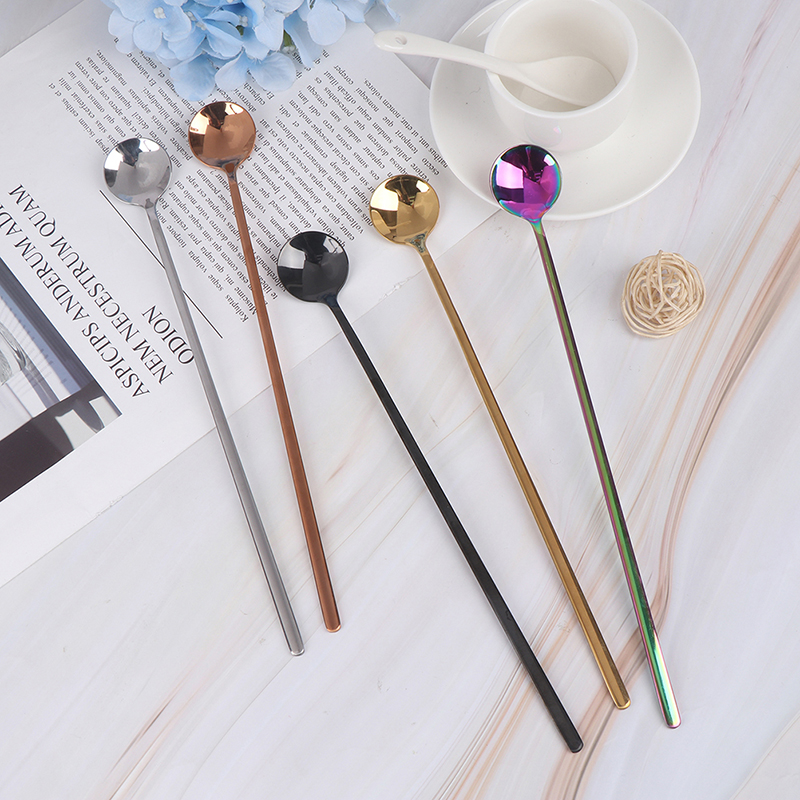 1Pcs 24cm Long Handled Stainless Steel Ice Cream Dessert Tea Spoon Colorful Coffee Spoon Dinnerware Flatware Kitchen Tools
