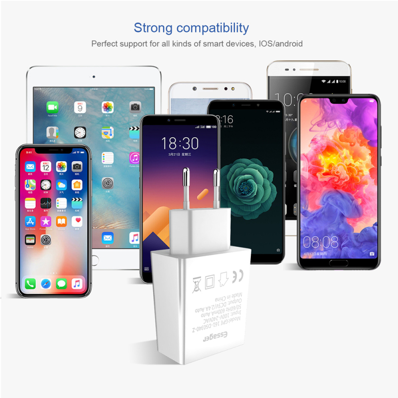 Essager Usb-Charger 9-Eu-Adapter Travel Xiaomi Samsung S10 1pcs 2 For IPhone Dual