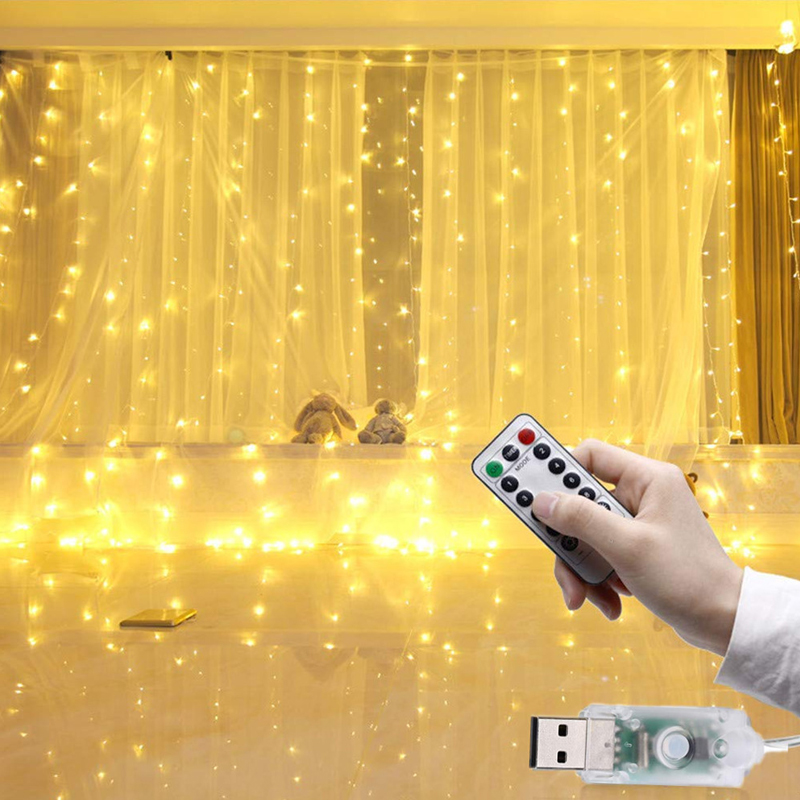 3Mx3M 300 LED Battery Powered Led Curtain Light Copper Wire LED String Curtain Lights Wedding Lights With RF Remote 8 Modes