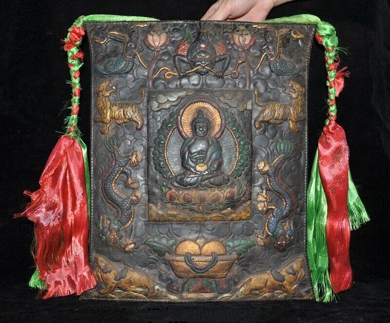 Ev ve Bahçe'ten Statü ve Heykelleri'de Düğün dekorasyon eski Tibet tapınak bronz boyalı Sakyamuni tıp buda Tangka duvar asılı title=