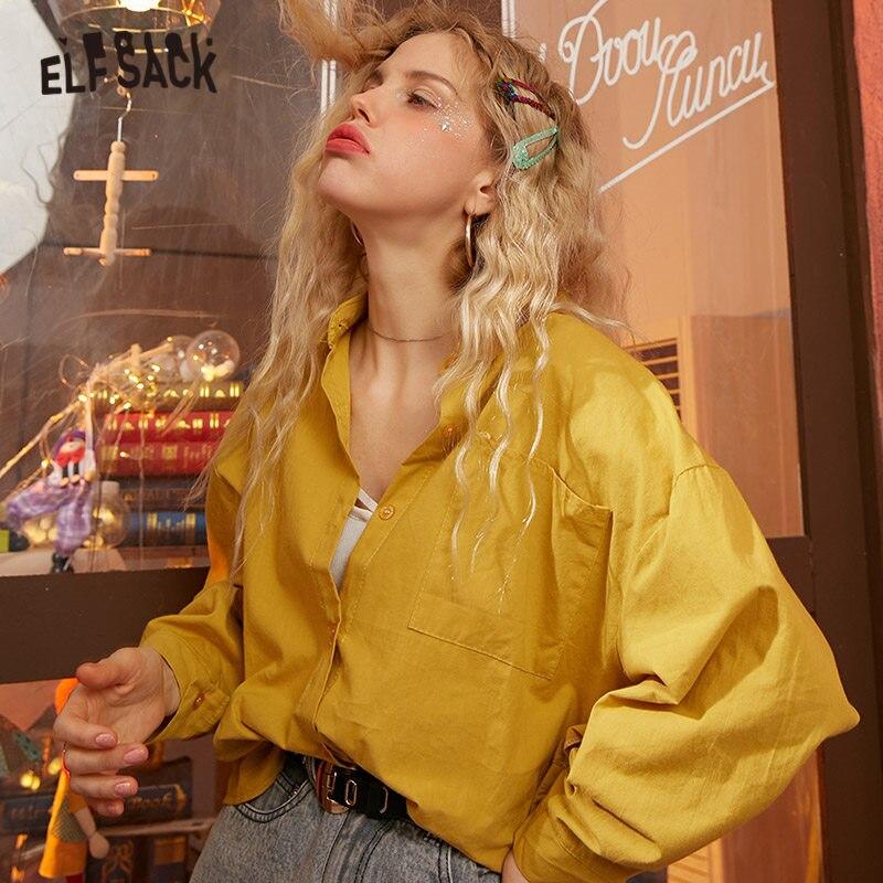 ELFSACK Multicolor Solid Minimalist Oversize Shirts Women 2020 Spring Pure Drop Shoulder Sleeve Korean Ladies Basic Daily Tops