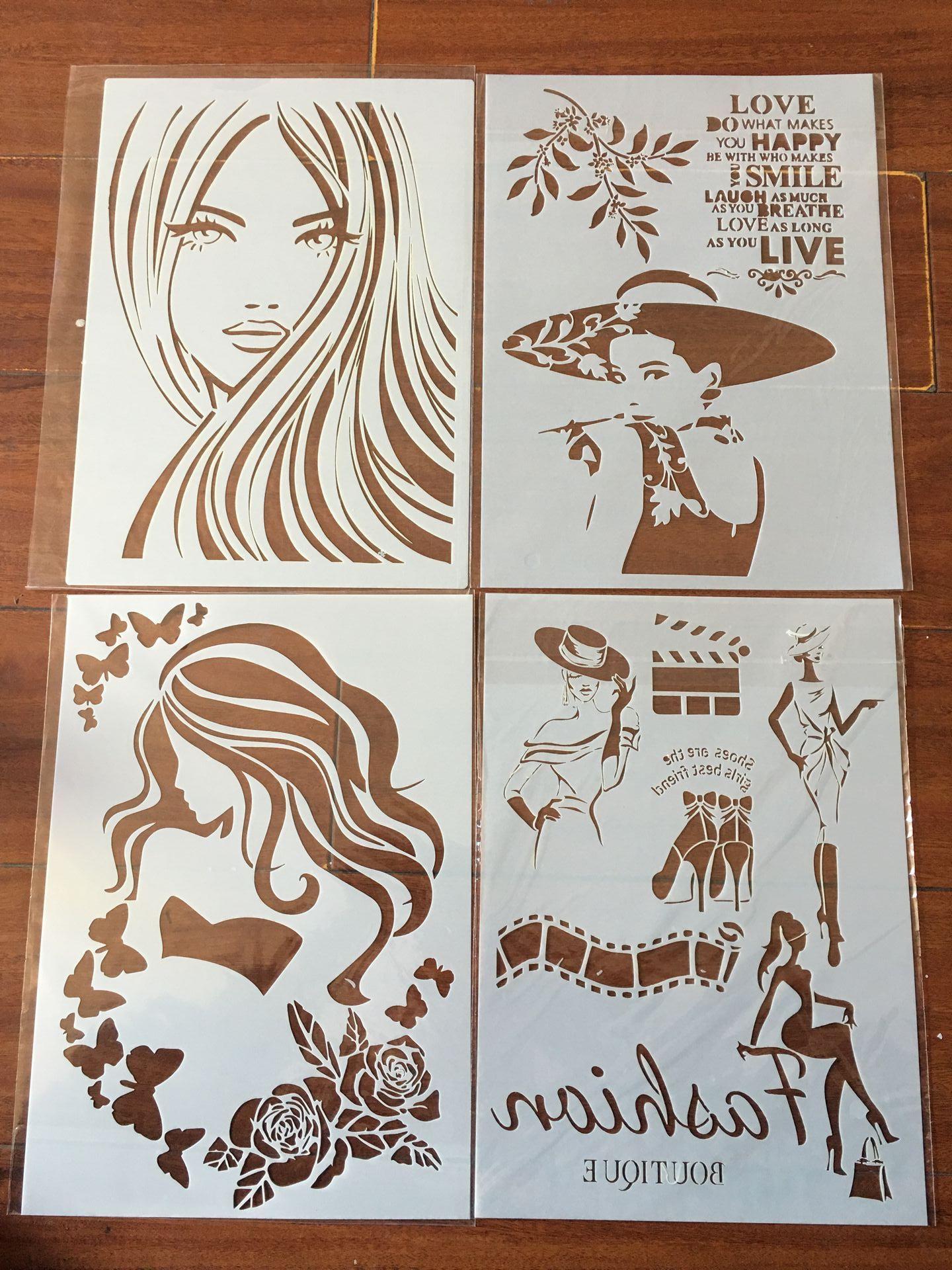 4pcs / Set A4 Beauty Flowers  Stencils Painting Coloring Embossing Scrapbook Album Decorative Template