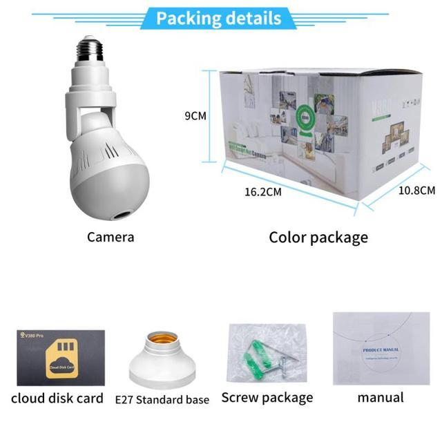 360° Panoramic Wifi Camera E27 Light Bulb HD 1080P Security IP Camera Baby Pet Monitoring Good LED Light Effect Lighting 6