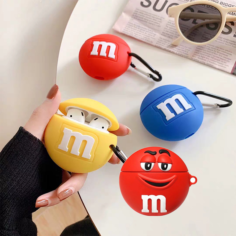 For AirPods 2 Case Silicone Cute 3D Chocolate Beans Earphone Case For Apple Air Pods Cover Headphone Cover For Earpods Strap