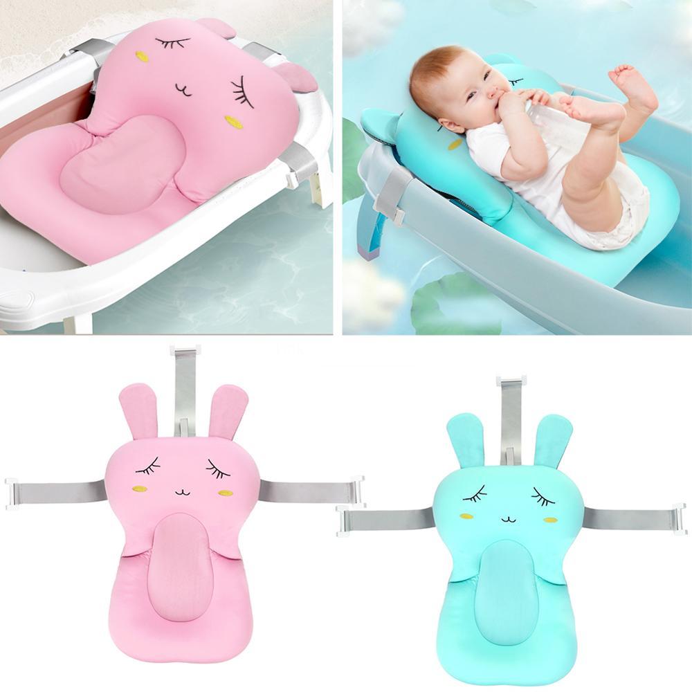 Infant Baby Bath Pad Non-Slip Bathtub Mat Exquisite Cartoon Rabbit Bath Seat Support Necessary Home Baby Bathing Accessories
