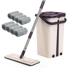 Convenient Washing-free Retractable Flat Mop Cloth And Bung Bucket Set Cleaning The Floor Household In Stock