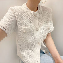 Fashion women's cardigan 2021 simple and versatile round neck chic single-breasted design loose knit sweater