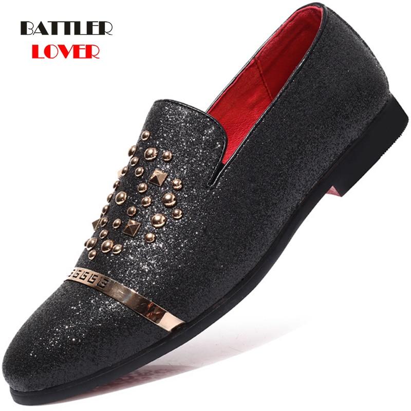 italian fashion glitter loafers men new arrival 2019 coiffeur wedding dress formal shoes men