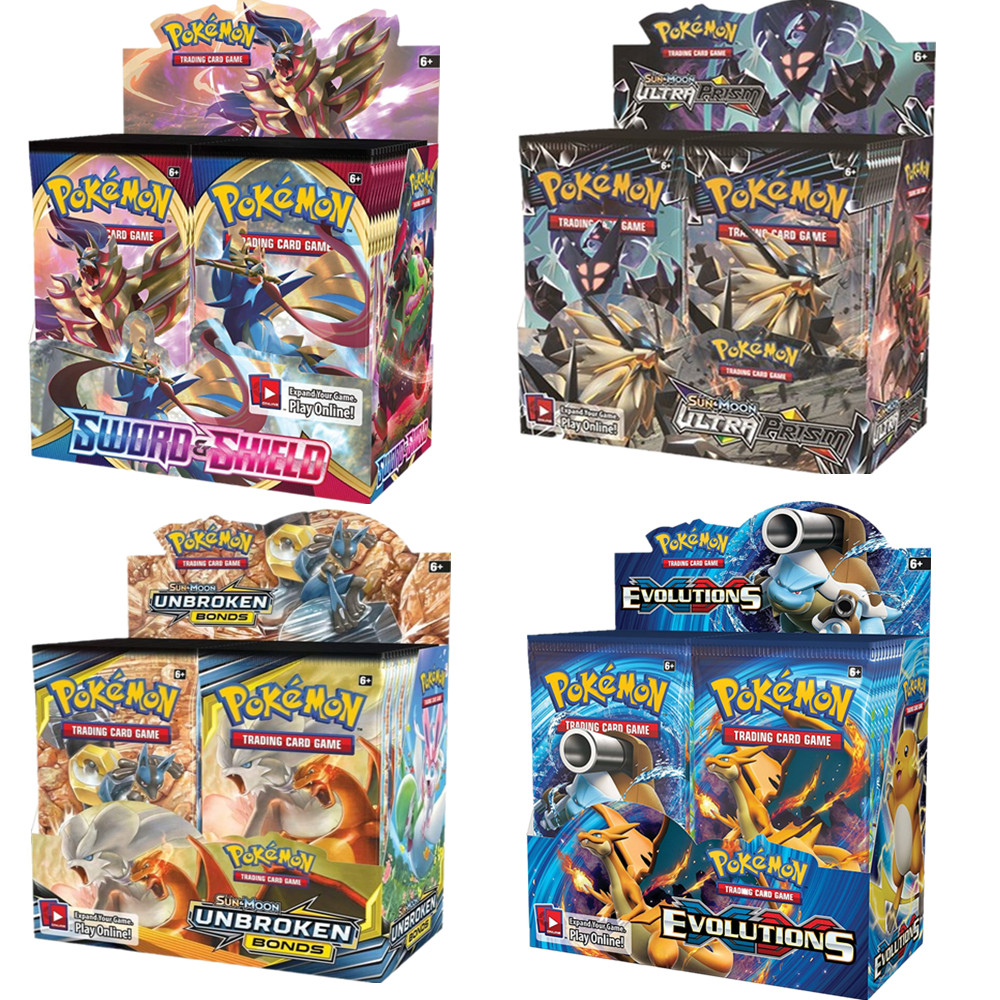 324Pcs/box All Latest Versions Pokemon Cards XY Sun&Moon Sword&Shield 36 Pack Booster Box Collecting Toys