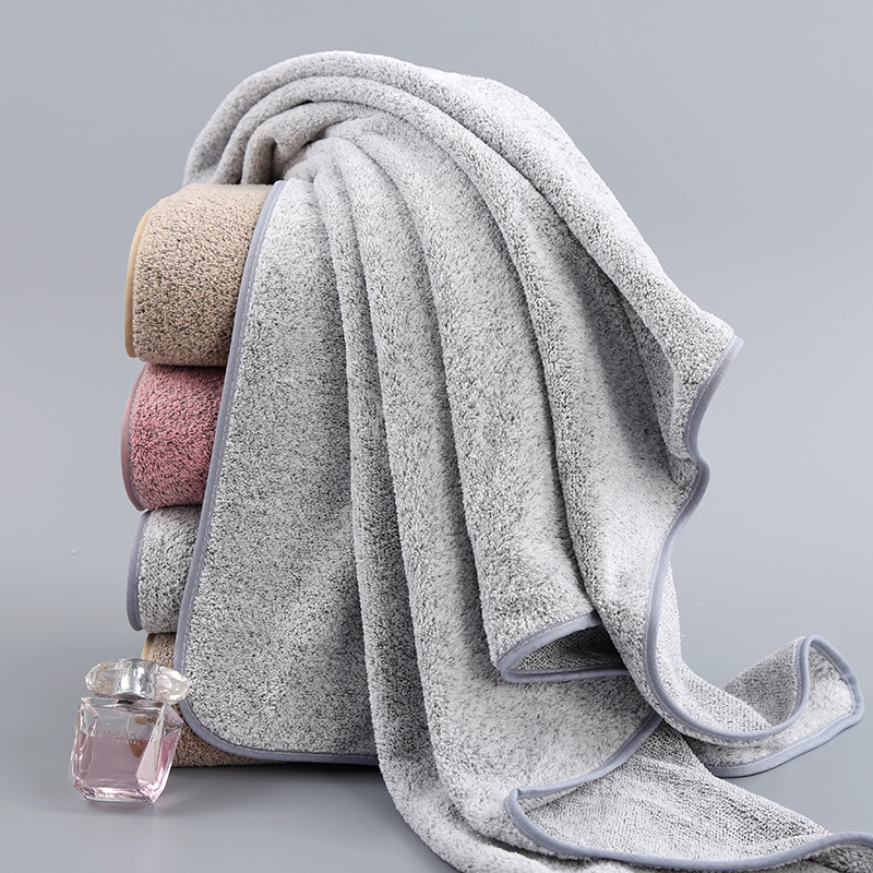 70x140cm Bamboo Charcoal Coral Velvet Bath Towel For Adult Soft Absorbent Microfiber Fabric Towel Household Bathroom