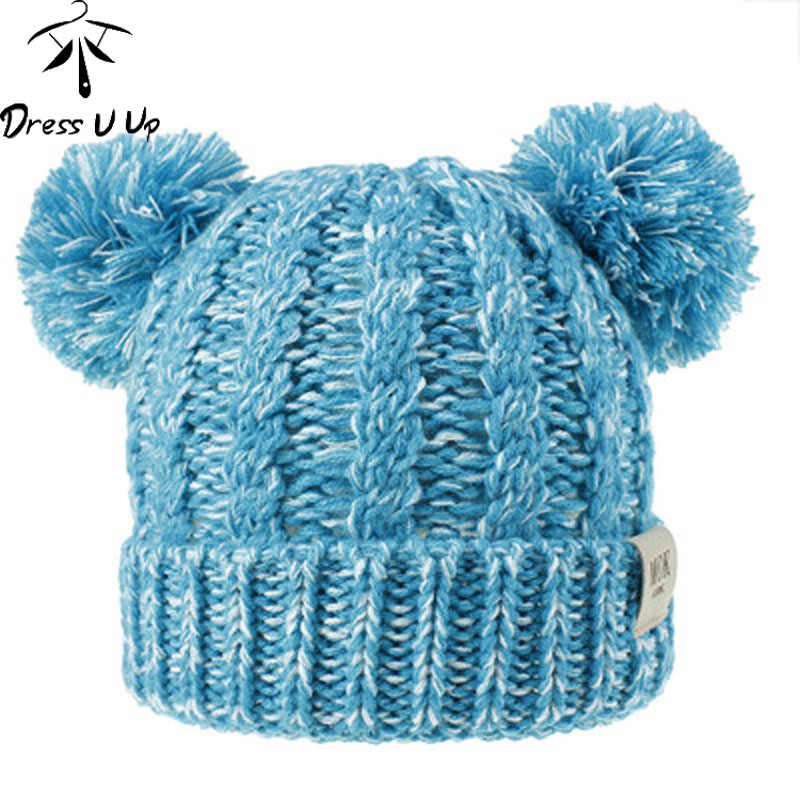 DRESSUUP Children's Hat Wool Knit Hat 2019 Autumn and Winter New Twist Woven Double Ball Pompom Boys and Girls Hat