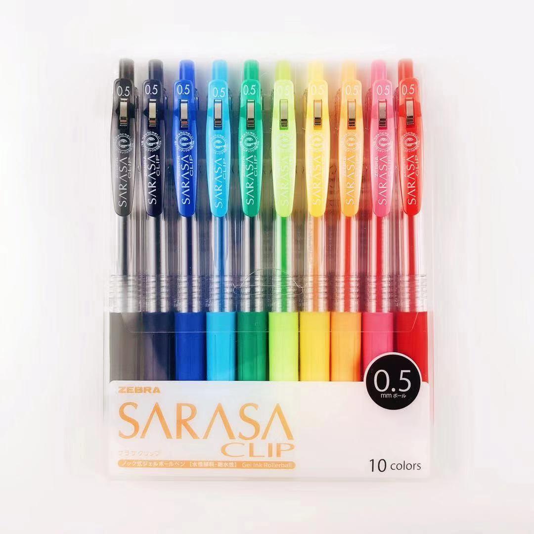 1 Box Of Zebra JJ15 SARASA Clip Press Colorful Neutral Pen Gel Ink Pen Writing Pen 0.5mm Japan 10 Colors Office School Supplies