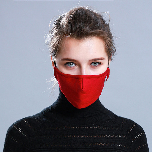 1Pcs BYEPAIN Fashion Cotton PM2.5 Black mouth Mask Activated carbon filter Windproof Mouth-muffle masks For Man Woman 3