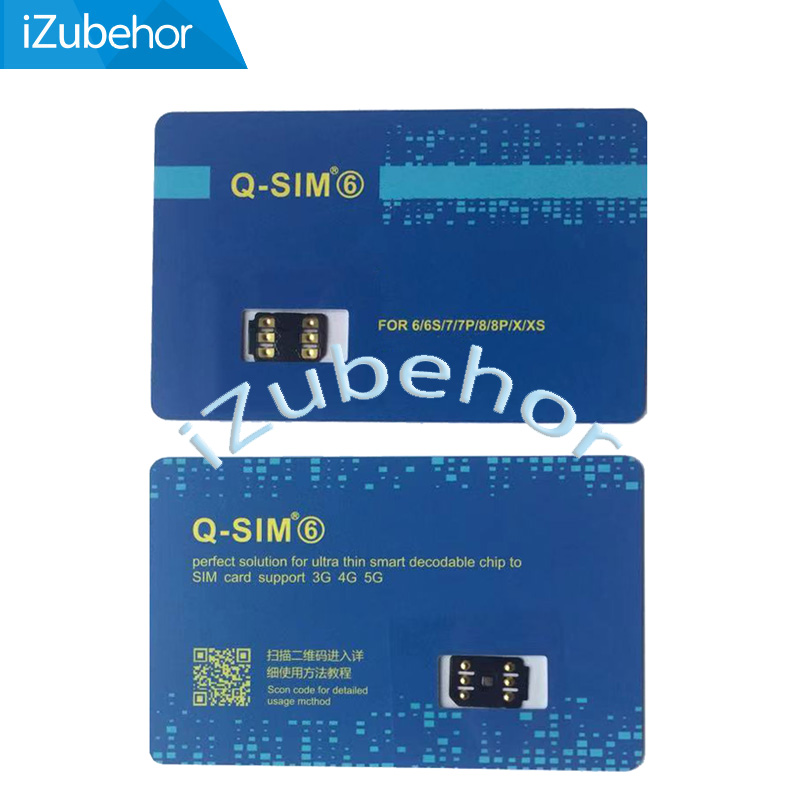 Support IOS13 Q-SIM 6 For Iphone 5/5c/5s/6/6p/6s/7/7p/8/8p/x/xs /XS Max/11/11 Pro The Latest Automatic 5G LTE Sim Card Adapter