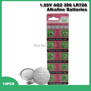 10pcs/pack LR726 396 AG2 Button Battery SR726 196 Cell Coin Alkaline Batteries 1.55V SG2 SR9 726 LR59 For Watch Toys Remote
