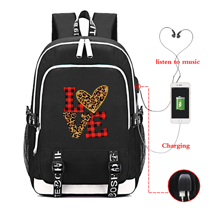 <font><b>Mochila</b></font> <font><b>Escolar</b></font> Students School Backpack Teenagers Children Usb Charging Bookbag Leopard Print <font><b>Canvas</b></font> <font><b>Unisex</b></font> Girls School <font><b>Bags</b></font> image