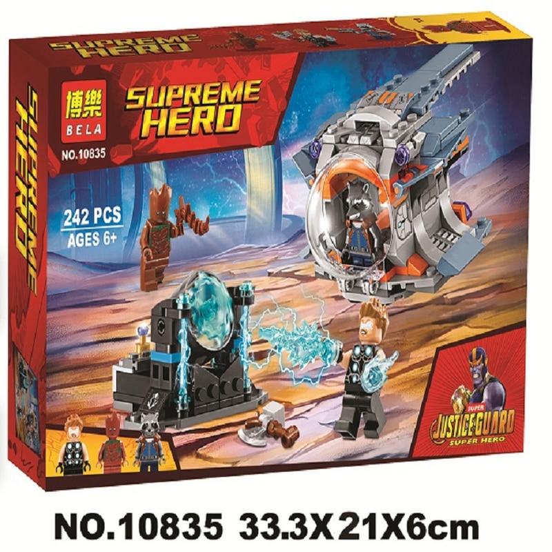 10835 Marvel Super Heroes Avengers Infinito Guerra Arma Busca de Thor Building Blocks Brinquedos Dom Compatível com Legoinglys