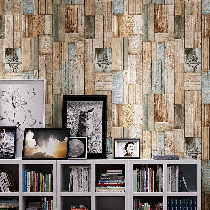 Retro Nostalgic 3D Imitation Wood-grain Mottled Wallpaper Restaurant Coffee Shop Bar Cool Color Board Wallpaper