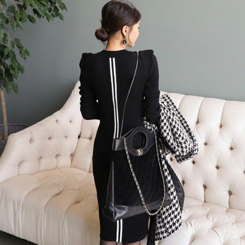Winter Slim Midi Knitted Women Cloth Bodycon Sheath Black Long Sleeved Sweater Dress