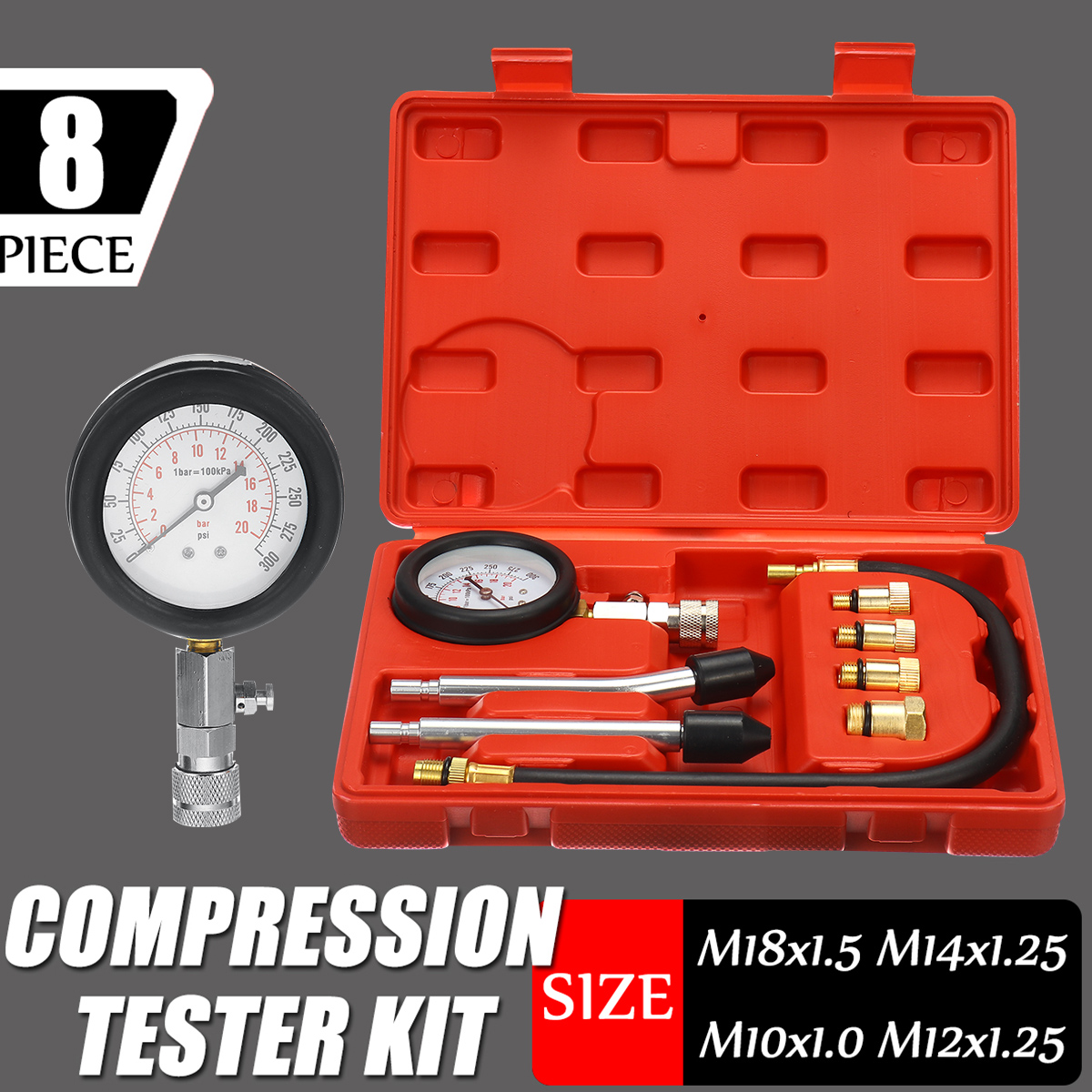 Petrol Engine Pressure Gauge Tester Kit Set Compression Leakage Diagnostic Compressometer Tool For CAR Auto With Case