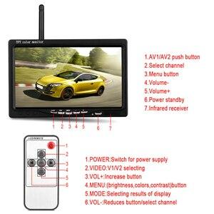 "Image 5 - 무선 및 유선 7 ""LCD 모니터 백업 카메라 LCD 자동차 모니터 모니터 디스플레이 역방향 카메라 주차 시스템 후면보기 모니터"