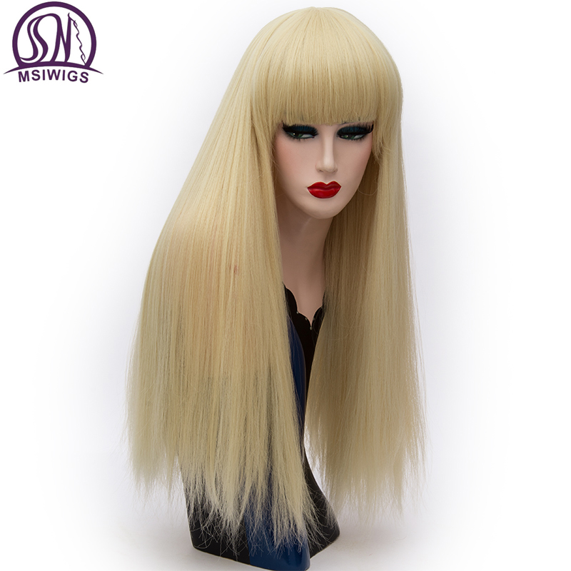 Image 3 - MSIWIGS Long Straight Bangs Red Wigs Synthetic Natural Heat Resistant Fiber Hair White Purple Green Brown Cosplay Wig FemaleSynthetic None-Lace  Wigs   -