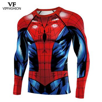 VIP FASHION 2020 New Shirts For Male Adult Spiderman Cosplay Printed Workout Compression Gym Long Sleeve Raglan Sleeves Tops