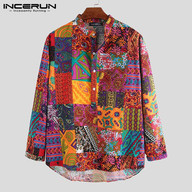 Ethnic Style Casual Shirt Men Printed Cotton Chic Stand Collar 2019 Long Sleeve Blouse Camisa Hawaiian Shirts Streetwear INCERUN