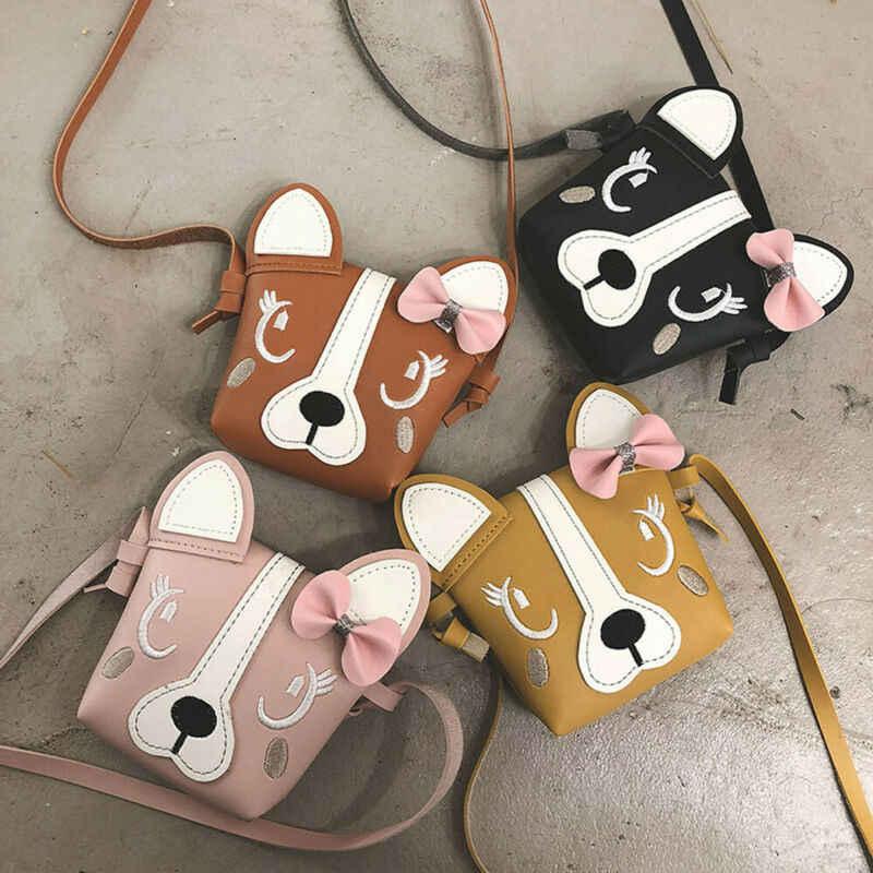 Goocheer 子女の子かわいい犬ちょう結び弓レザーバックパック到着クロスボディメッセンジャーショルダーバッグ財布