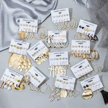 Earrings-Set Tassel Pearl Geometric Fashion Jewelry Bohemian Women's for Hoop Kolczyki