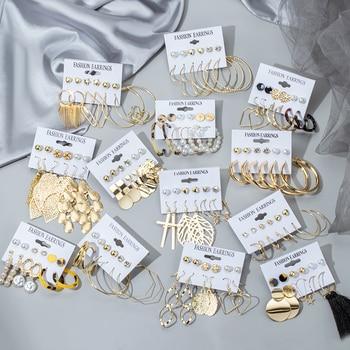 New Women's Earrings Set Tassel Pearl Acrylic Earrings For Women Bohemian Fashion Jewelry 2020 Geometric kolczyki Hoop Earings 1
